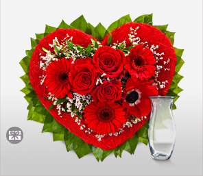 Valentine Arrangement-Green,Red,Gerbera,Rose,Arrangement,Bouquet