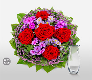 Blushing Secret-Pink,Red,Rose,Arrangement,Bouquet