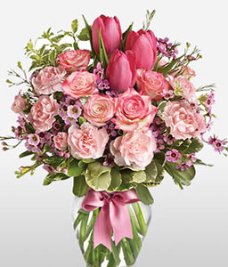 Tulip Sensation-Green,Pink,Carnation,Mixed Flower,Rose,Tulip,Arrangement,Bouquet