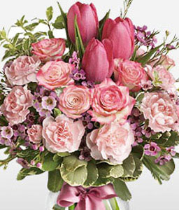 Tulip Sensation-Green,Pink,Tulip,Carnation,Rose,Arrangement,Bouquet