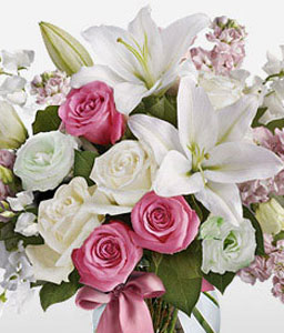 Sweetness-Pink,White,Lily,Rose,Arrangement,Bouquet