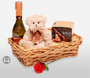 Of Cuddles And Love-Chocolate,Teddy Bear,Basket,Soft Toys