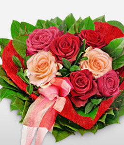 Sweet Heart Red Roses-Green,Pink,Red,Rose,Arrangement