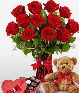 Love is in the air-Red,Chocolate,Rose,Teddy Bear,Arrangement