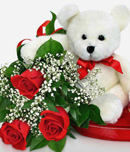 Fall In Love-Red,White,Teddy Bear,Chocolate,Rose,Bouquet