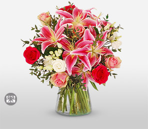 Roses and Lilies-Pink,Red,Lily,Rose,Bouquet