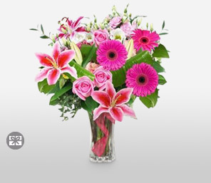 Pink delight-Pink,Gerbera,Lily,Rose,Bouquet