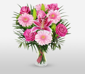 Love You Mom-Pink,Lily,Rose,Bouquet