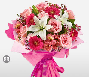 Pink Charm<Br><Font Color=Red>Mixed Flowers Bouquet</Font>