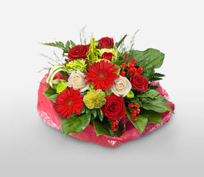 Xmas Delight-Green,Mixed,Red,White,Carnation,Gerbera,Mixed Flower,Rose,Arrangement