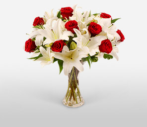 Xmas Wishes-Red,White,Lily,Rose,Arrangement