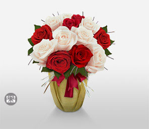 Christmas Elegance-Red,White,Rose,Bouquet