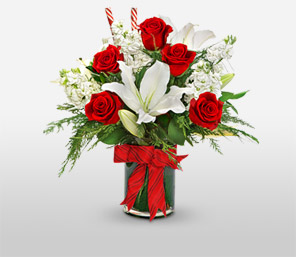 Xmas Candy Cane-Red,White,Lily,Rose,Arrangement