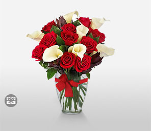 Christmas Bliss-Red,White,Rose,Lily,Bouquet