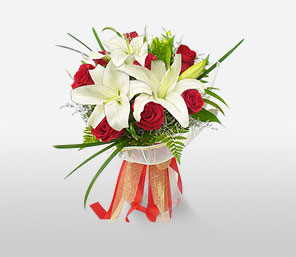 Elegance Of Christmas-Red,White,Lily,Rose,Bouquet