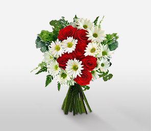 Simply Christmas-Red,White,Rose,Daisy,Bouquet