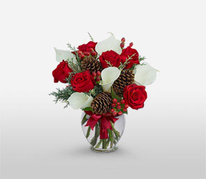 Christmas Splendour-Red,White,Lily,Mixed Flower,Rose,Arrangement