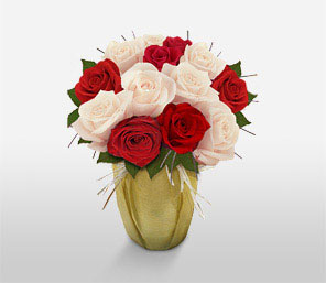 Holiday Roses-Red,White,Rose,Bouquet