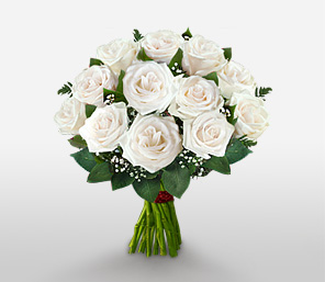 Rosy Christmas-White,Rose,Bouquet