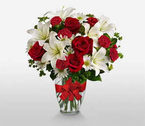 Christmas Glory-Red,White,Mixed Flower,Lily,Carnation,Rose,Arrangement