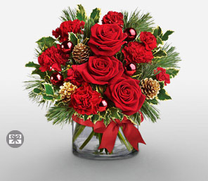 Holiday Red-Green,Red,White,Carnation,Rose,Arrangement