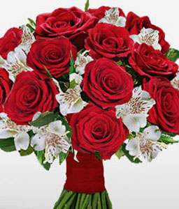 Red Romantic-Red,White,Alstroemeria,Rose,Bouquet