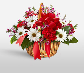 Christmas Basket-Mixed,Red,Yellow,Carnation,Daisy,Basket