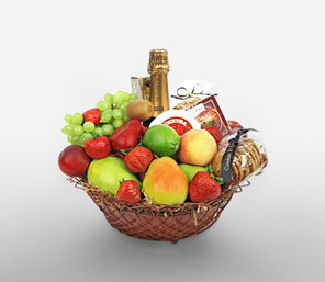 Christmas Glee-Fruit,Gourmet,Wine,Basket,Hamper