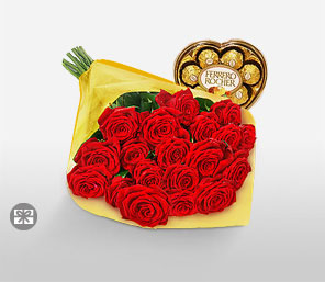 Christmas Roses and Chocolates-Red,Chocolate,Rose,Bouquet,Hamper