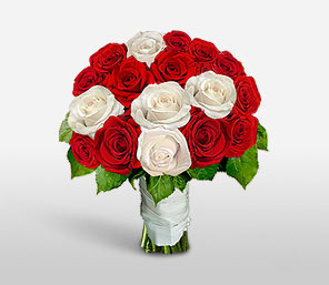 Festive Surprise-Red,White,Rose,Bouquet