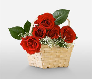 Christmas Basket Of Love-Red,Rose,Arrangement,Basket