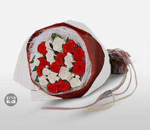 Red And White Christmas-Red,White,Rose,Bouquet