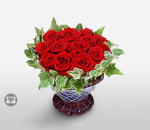 Christmas Roses-Red,Rose,Basket