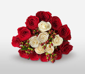 Season\'s Love <Br><Font Color=Red>18 Red & White Roses</Font>