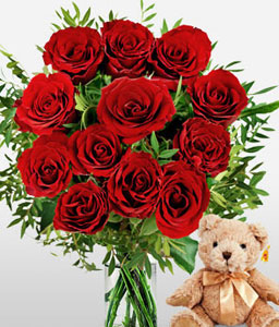 Anniversary Love Combo <span>Red Roses And Bear</span>