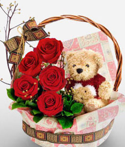 Red Roses in Basket with Teddy