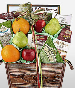 Fruity Freshness <Br><Font Color=Red>Fruits N Gourmet Basket</Font>