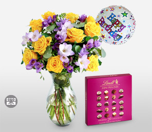 Surprise Gift Set <Br><Font Color=Red>Mixed Flowers + Balloons + Chocolates</Font>