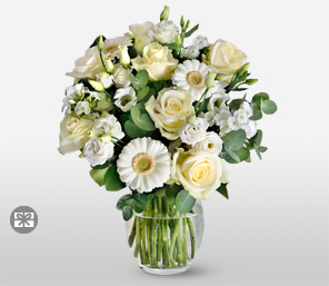 White Pearls-White,Roses,Germini,Anniversary,Mixed,Bouquet