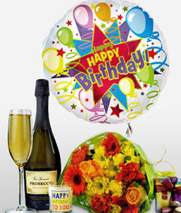 Birthday Celebration Gift Set-Birthday,Wine,Chocolates,UK,Bouquet,Balloon,Candles