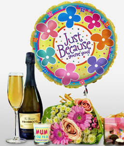 For Mum with love-Hamper,Wine,Mother,Balloon,Birthday,Flowers,Chocolates,Candle