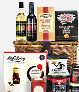 Fine Wine Hamper Set-Basket,Hamper,Gift,Wine,Tea,Goodies,Birthday