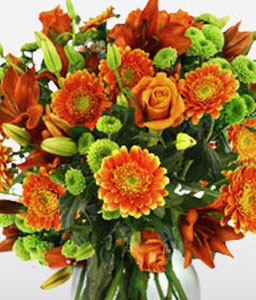 Orange Magnificence-Arrangement,Orange,Lilies,Gerberas,Singapore