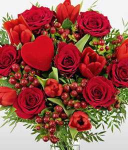 Eternal Romance <font color=Red>Red Roses & Tulips</font>