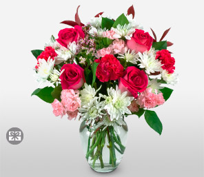 Pink Elegance <font color=Red>Rose & Carnations</font>
