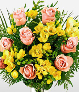 Gleeful Roses and Freesia