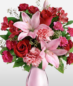 Valentine Rose and Lilies Bouquet