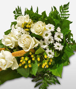 Pure White Flowers Sympathy Bouquet