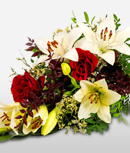 Sympathy Bouquet In White and Red Flowers