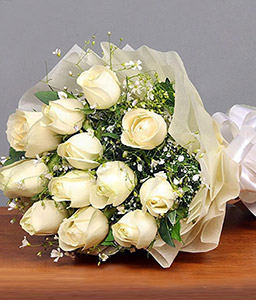 Hand Tied Bouquet of 12 White Roses